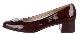 Salvatore Ferragamo Patent Leather Square-Toe Pumps
