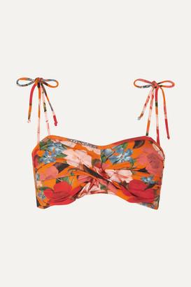 Nicholas Twisted Floral-print Bikini Top - Orange