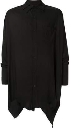 Sulvam asymmetric double-collar shirt