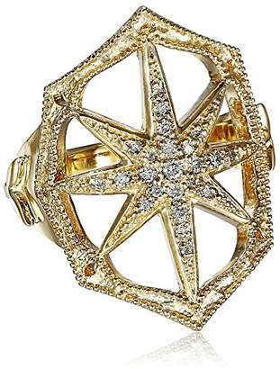 Mizuki 14k and Diamond Outlined Web Starburst Ring