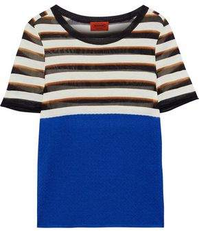 Missoni Cloqué-Paneled Striped Stretch-Knit T-Shirt
