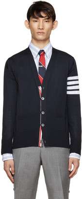 Thom Browne Navy Wool Striped Armband Cardigan $955 thestylecure.com