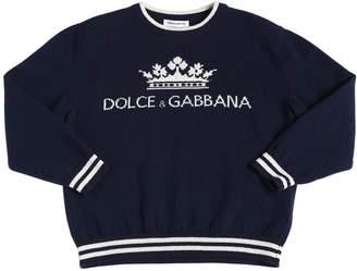 Dolce & Gabbana Logo Wool Intarsia Knit Sweater