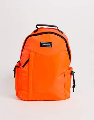 Consigned light weight nylon backpack in neon orange