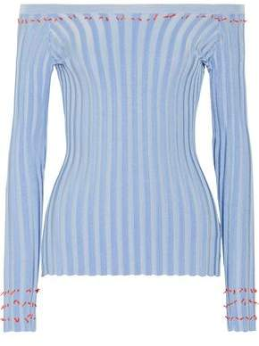 Tatum Off-The-Shoulder Fil Coupé Ribbed-Knit Top