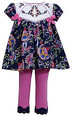 Bonnie Baby 12-24 Months Ethnic-Print Woven Dress & Knit Leggings Set