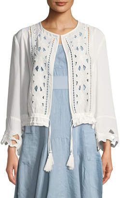 Neiman Marcus Floral-Embroidered Chiffon Cardigan