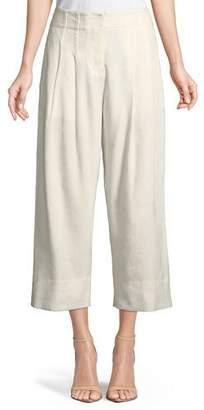 Rebecca Taylor Cropped Stretch-Linen Pants