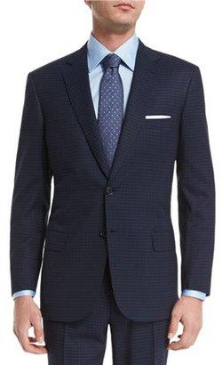Brioni Check Two-Piece Wool Suit, Navy/Black $5,895 thestylecure.com