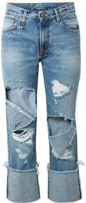 R 13 Bowie Cropped Distressed Mid-rise Straight-leg Jeans - Mid denim