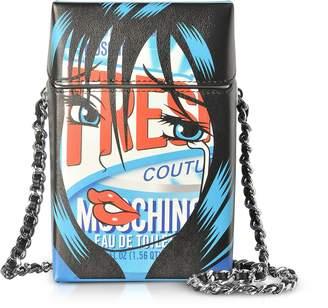 Moschino Fresh Comic Girl Blue Leather Crossbody Bag