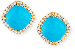 Frederic Sage 18K Gold Turquoise & Diamond Stud Earrings