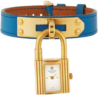 Hermes Estate Kelly Watch w/ Leather, Gold/Blue