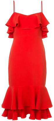 LIKELY ruffle detail fitted waist dress