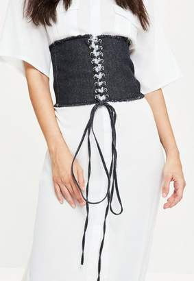 Missguided Blue Frayed Edge Denim Corset Belt