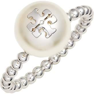 Tory Burch Logo Imitation Pearl Milgrain Ring