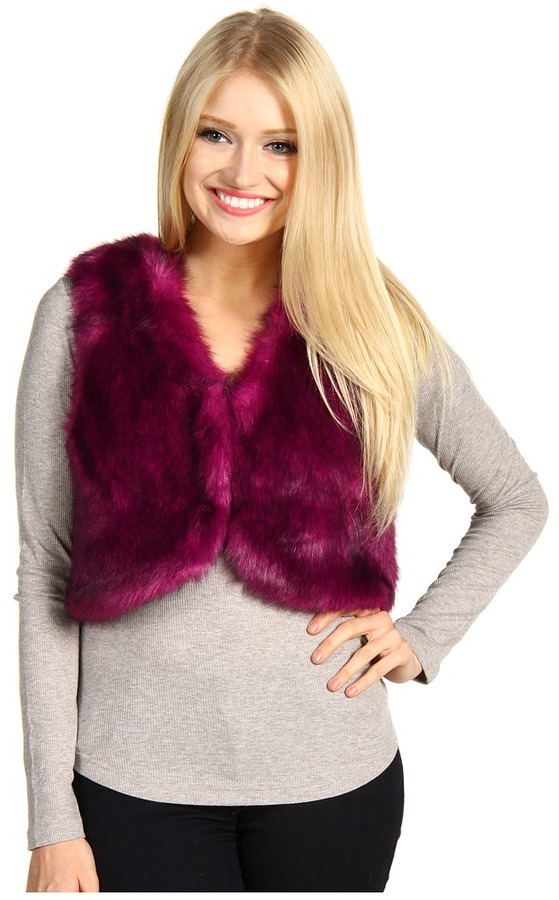 Steve Madden Glam Mink Fur Cropped Vest (Magenta) - Apparel