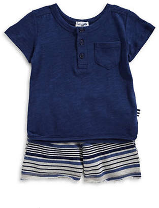 Splendid Short-Sleeve Henley and Striped Shorts Set