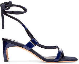 Rosetta Getty Patent-leather And Suede Sandals - Navy