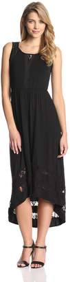 NY Collection Women's Sleeveless Maxi Dress with Lace Insets High Low Hem