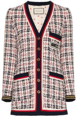 Gucci grosgrain trimmed logo patch tweed jacket