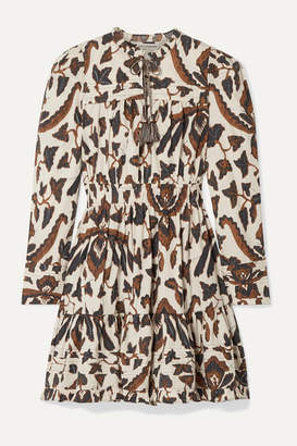 Ulla Johnson Ismaya Tiered Printed Cotton-poplin Mini Dress - Brown
