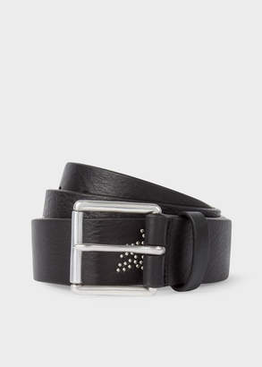 Paul Smith Men's Black Leather Belt With 'Dreamer' Motif Stud Detail