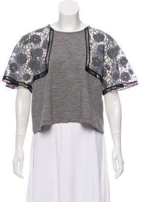 Giamba Embroidered Short Sleeve Top