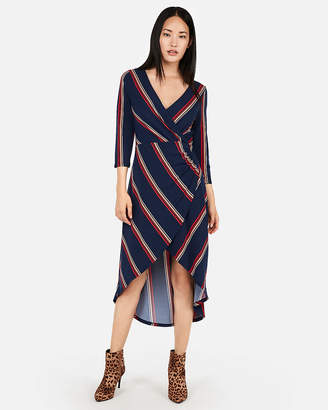 Express Striped Surplice Hi-Lo Midi Dress