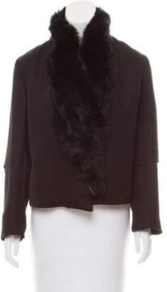 Ann Demeulemeester Fur-Trimmed Linen-Blend Jacket w/ Tags