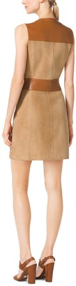 Michael Kors Suede and Leather Zip-Front Dress