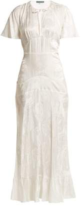 ALEXACHUNG Silk Blend Jacquard Dress - Womens - White