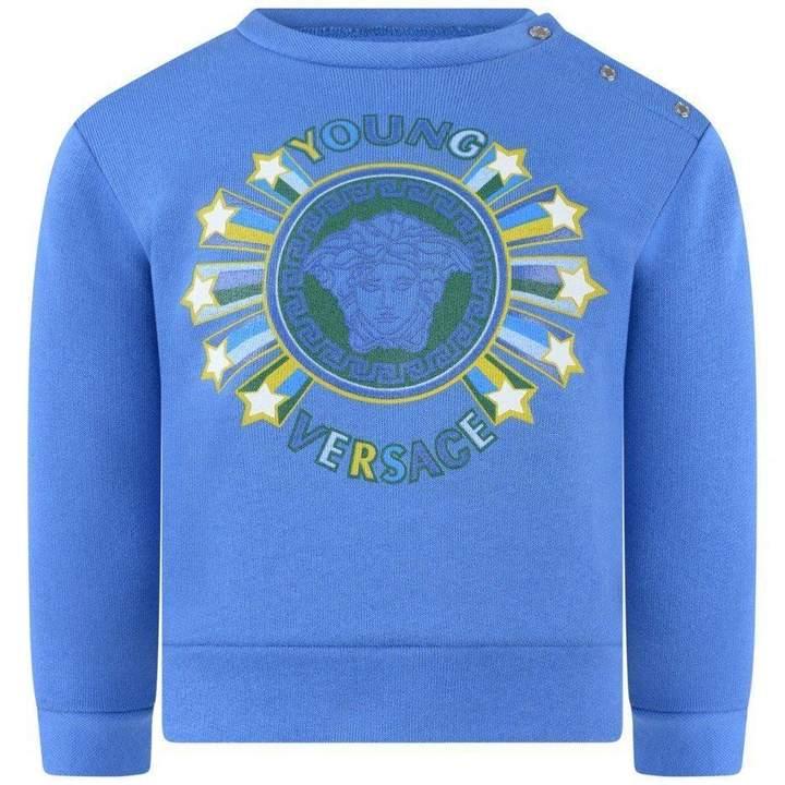 Young VERSACEBaby Boys Blue Medusa Stars Sweater