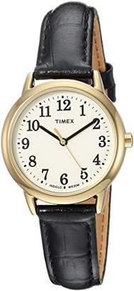 Timex Women's TW2R63300 Easy Reader Black Croco Pattern Leather Strap Watch