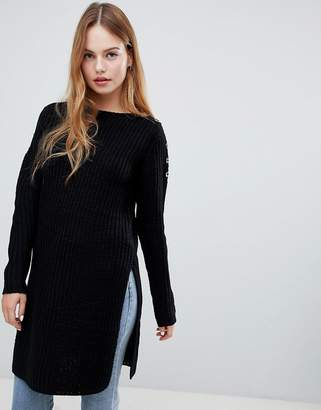 QED London ribbed split hem sweater