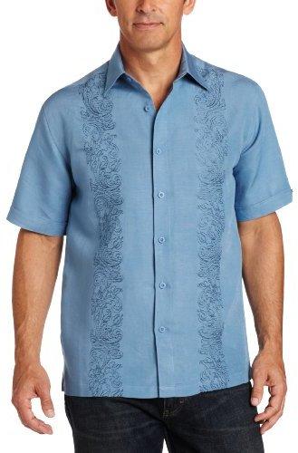 Cubavera Men's Ornate Embroidered Placket Shirt