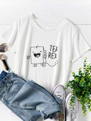 Shein Plus Letter And Cartoon Print Tee