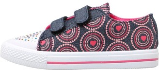Board Angels Girls Denim Velcro Pumps With Heart Print Dark Denim