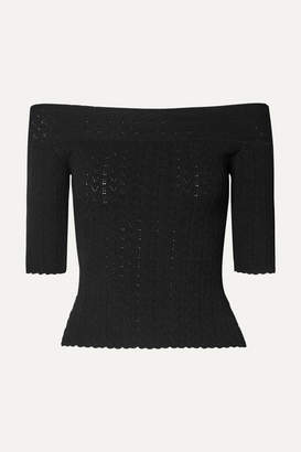 Altuzarra Barnehurst Off-the-shoulder Pointelle-knit Top - Black