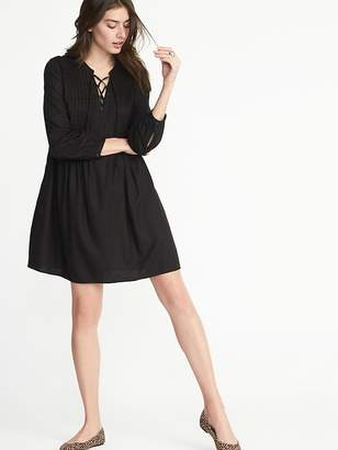 Old Navy Lace-Up-Yoke Pintuck Swing Dress for Women