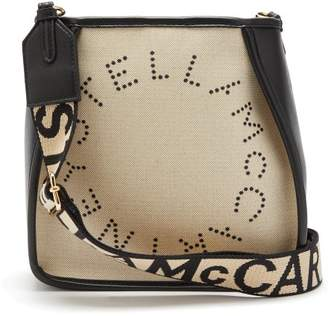 Stella McCartney Logo Embroidered Canvas Shoulder Bag - Womens - Grey Multi