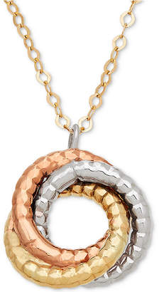 """Italian Gold Tri-Color Rope-Textured Love Knot 17"""" Pendant Necklace in 14k Gold, White Gold & Rose Gold"""