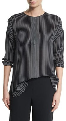 Vince Striped Silk Long-Sleeve Top, Black/Chalk $295 thestylecure.com