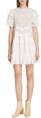 Sea Zinnia Eyelet & Lace Shift Dress
