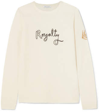 Bella Freud Royalty Embroidered Intarsia Wool And Cashmere-blend Sweater - Ivory