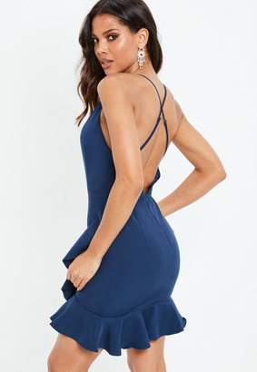Missguided Navy Cross Back Frill Hem Wrap Plunge Mini Dress