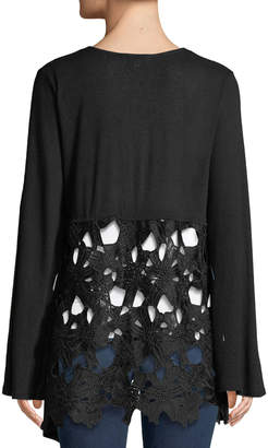 Neiman Marcus Crochet-Back Bell-Sleeve Cardigan