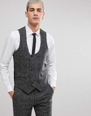 Asos DESIGN Slim Vest In Moons Wool Rich Monochrome Check