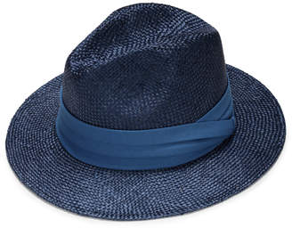 Justine Hats Blue Straw Fedora with Band