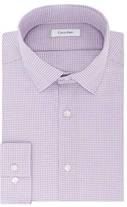 Calvin Klein Mens Dress Shirts Non Iron Slim Fit Gingham Spread Collar